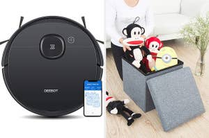 2-in-1 robotic vacuum cleaner with smartphone navigation, a storage ottoman with toys inside