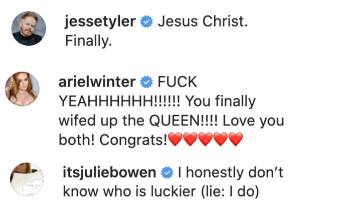 Ariel Winter, Julie Bowen, and Jesse Tyler congratulating the couple