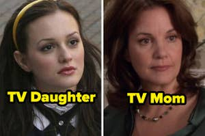 """Blair and Eleanor Waldorf side by side with caption, """"TV Daughter"""" and """"TV Mom"""""""