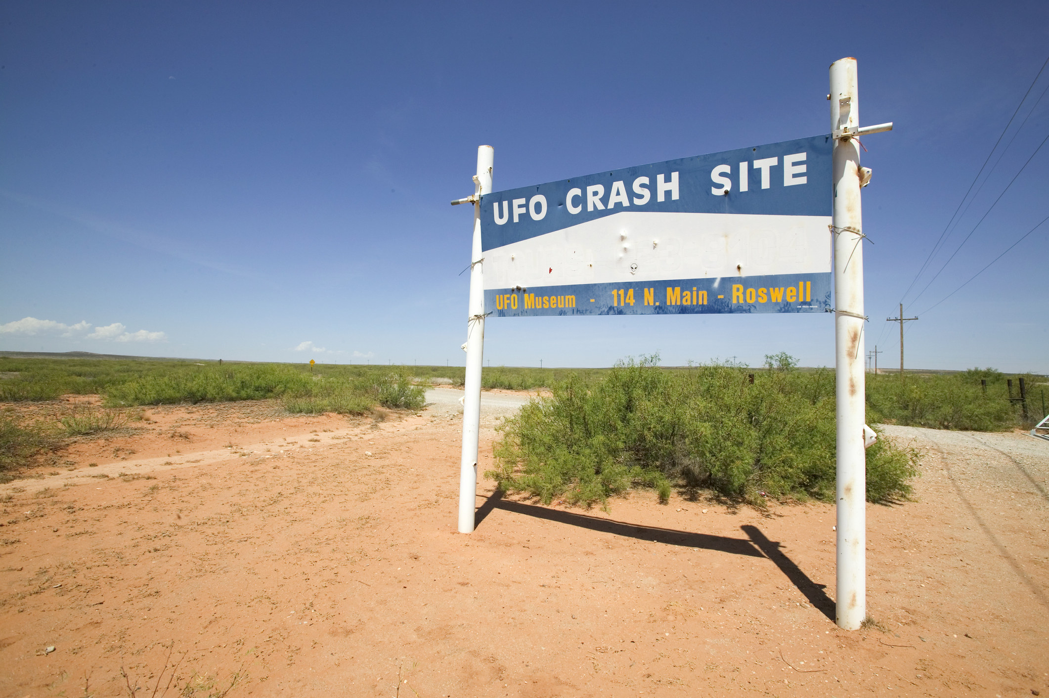 A sign for the UFO crash site in Roswell.