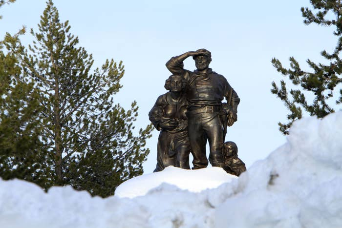 The memorial to the Donner Party at what is now called Donner Lake