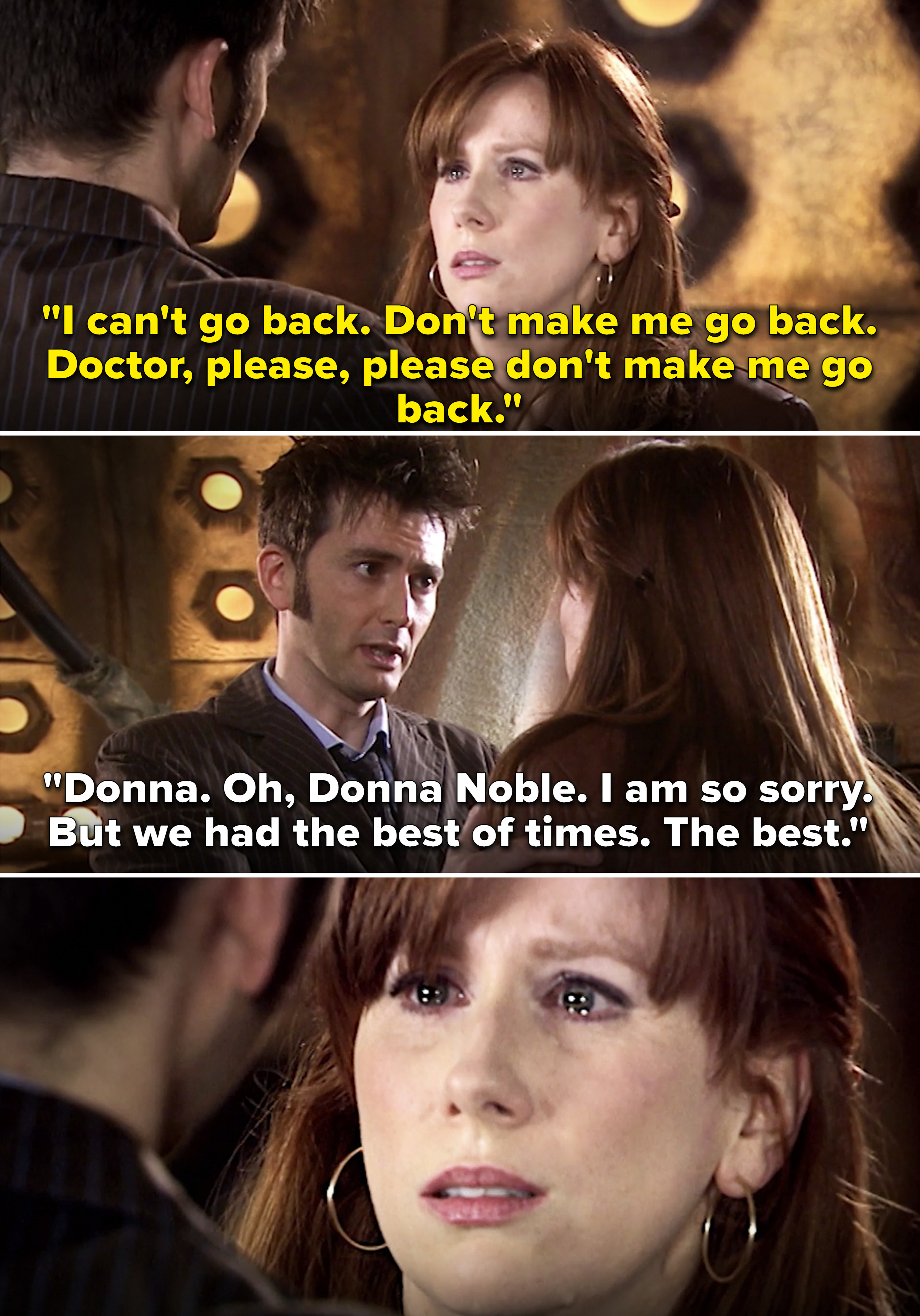 """Donna pleading with the Doctor not to go back and Doctor saying, """"I am so sorry. But we had the best of times"""""""