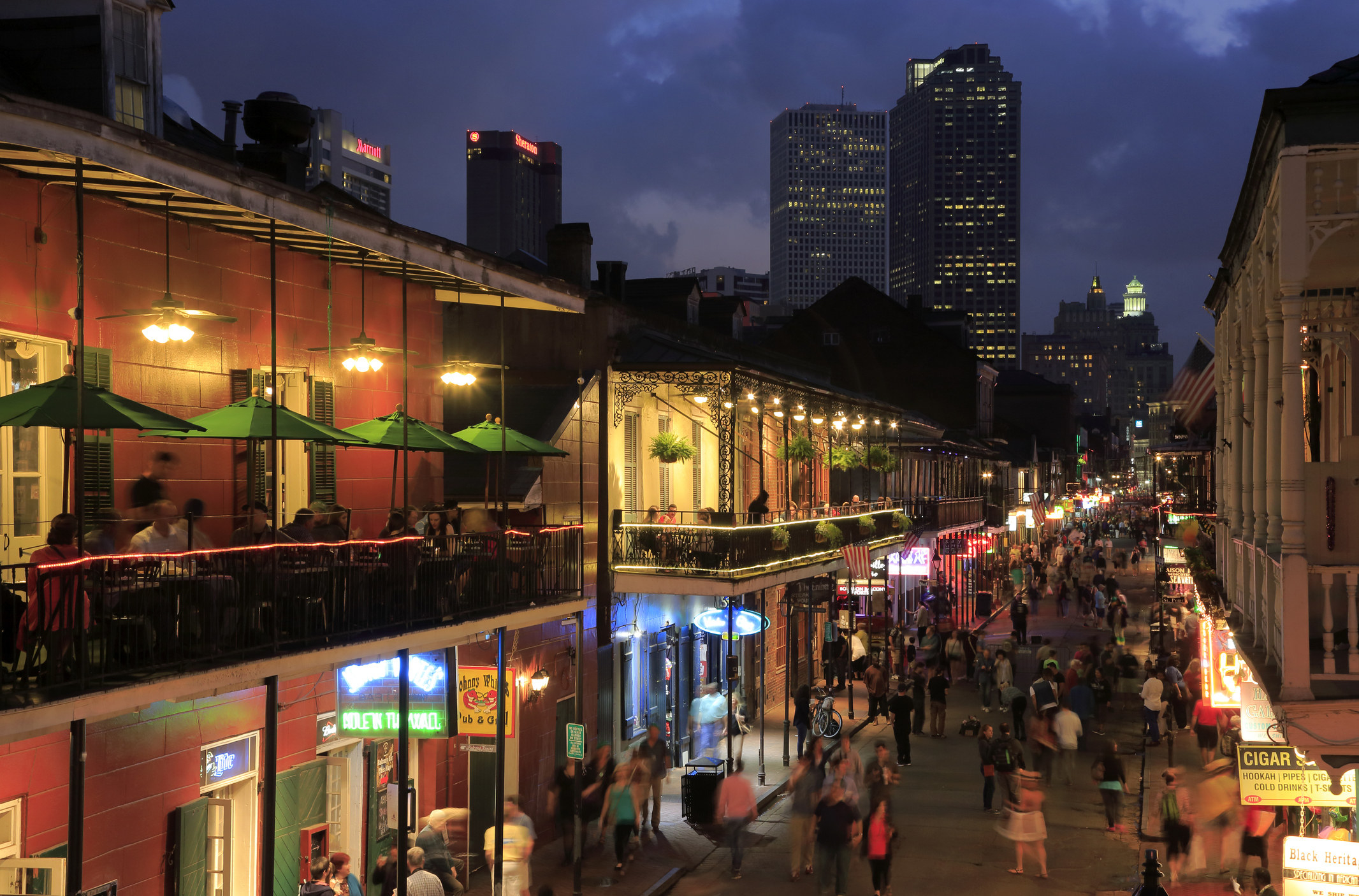Bourbon Street at night.