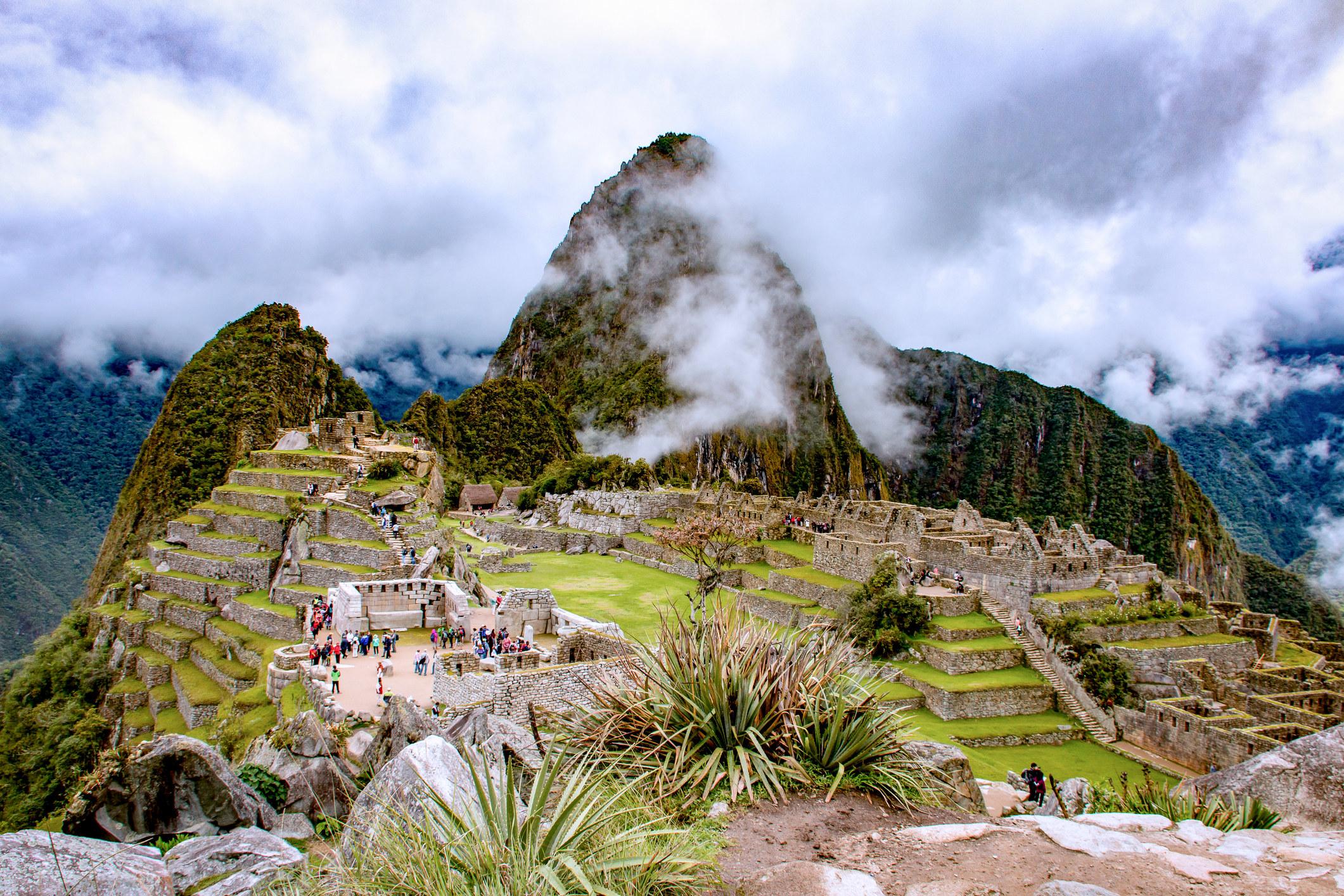 Machu Picchu with clouds.