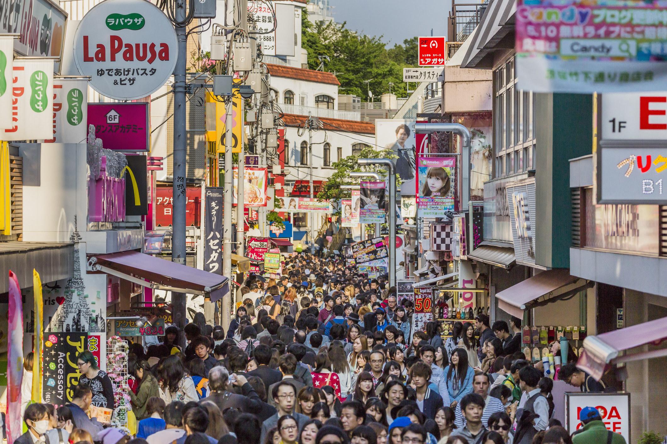 A very busyTakeshita Street in Harajuku.