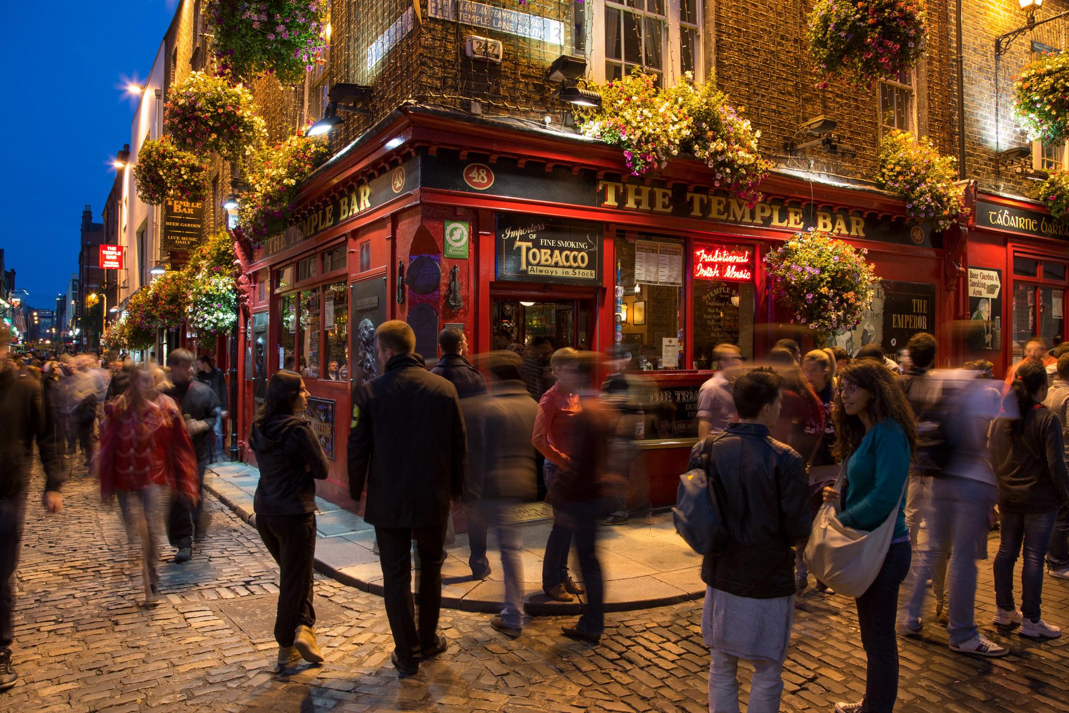 A crowd outside Temple Bar in Dublin.