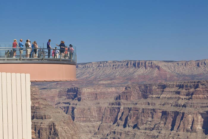 The glass skywalk over the Grand Canyon.