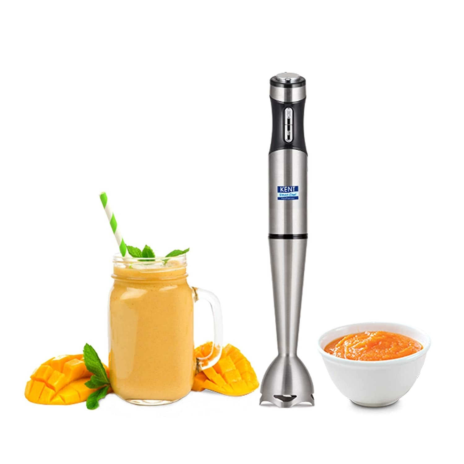 An image of a hand blender, mango smoothie and a sauce