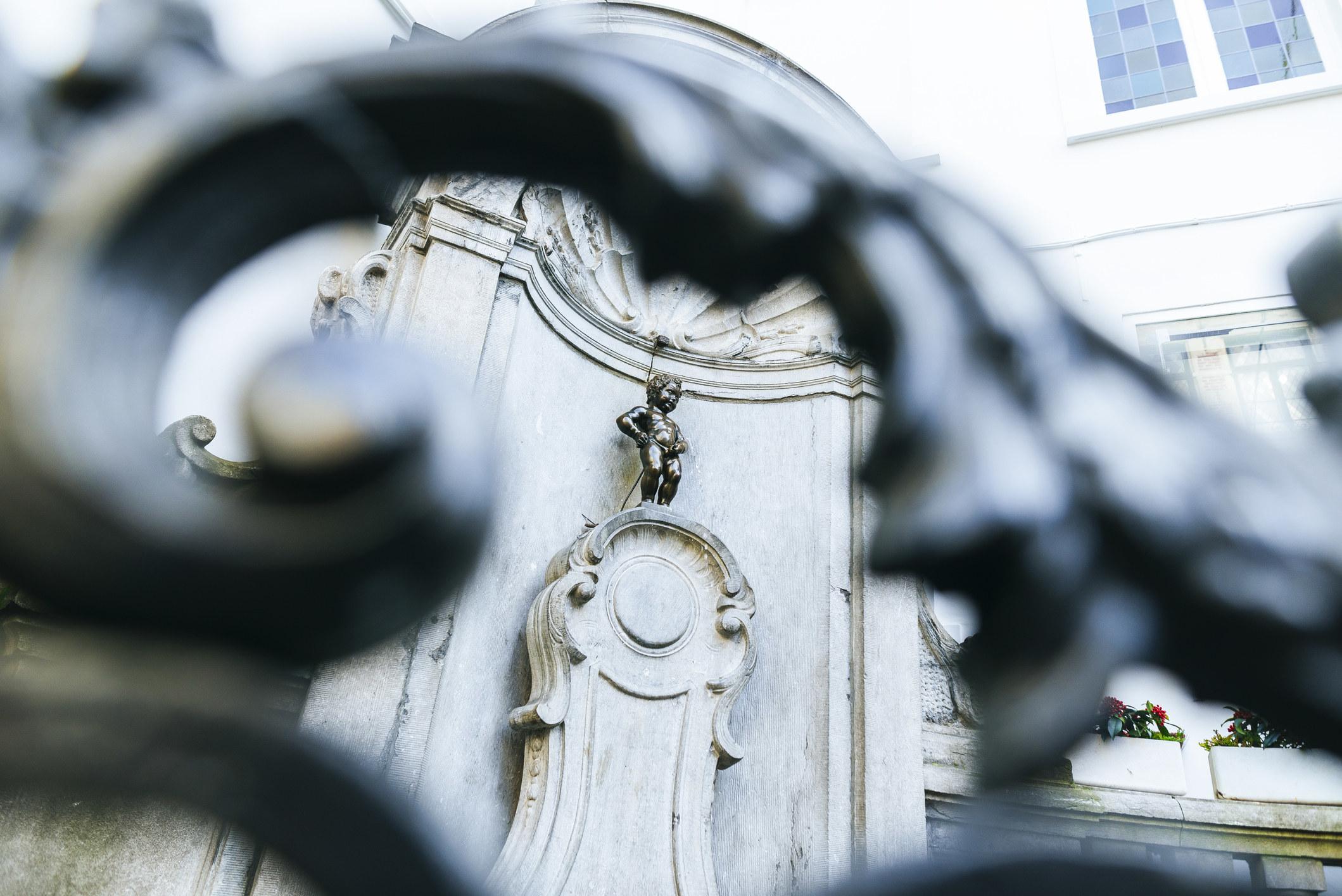 Manneken Pis statue in Brussels.