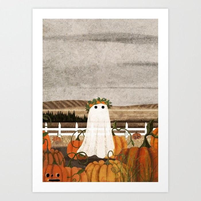 an art piece of a ghost wearing a flower crown in a field of pumpkins