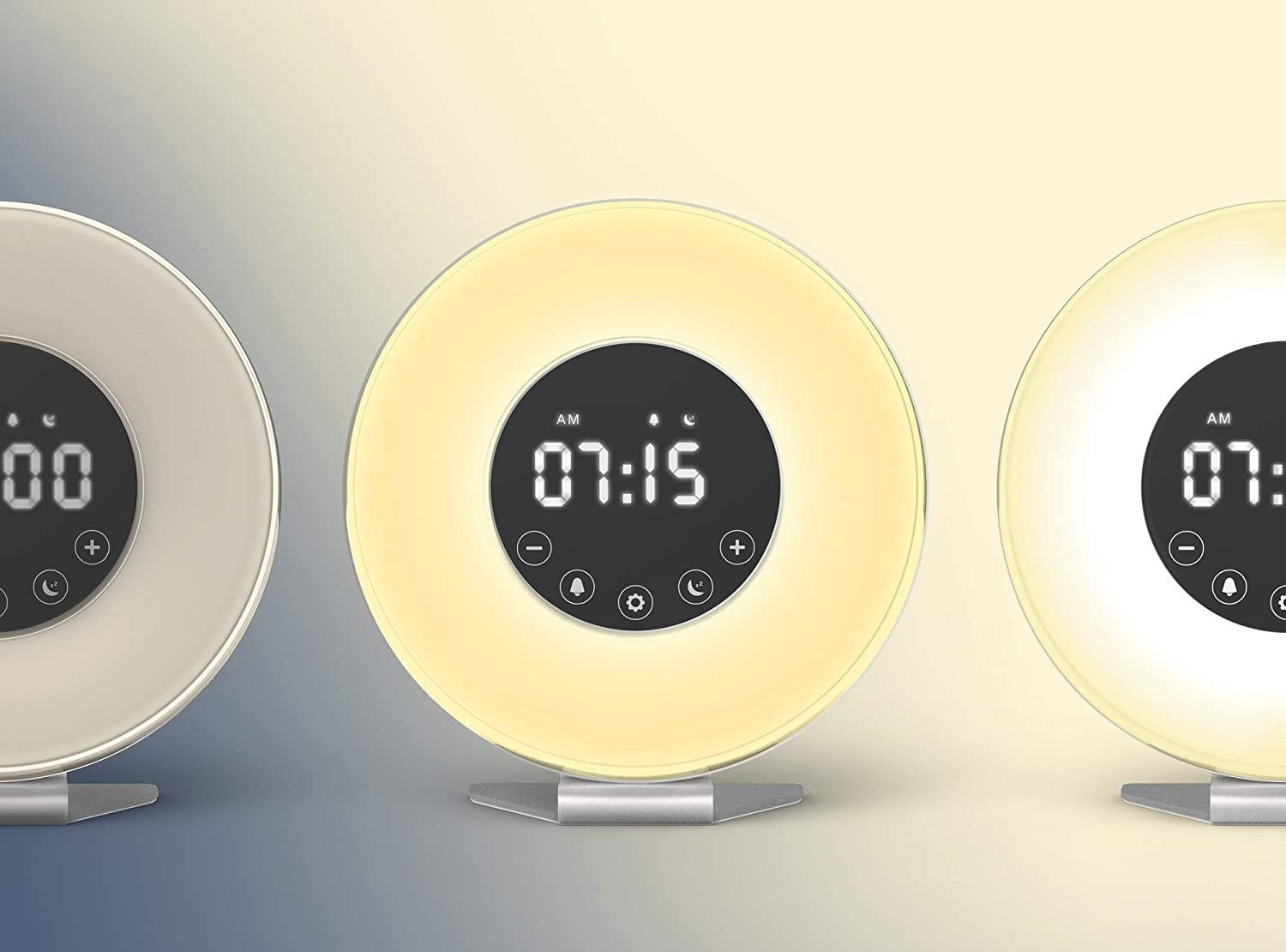 The round digital clock in three settings of brightness as time passes