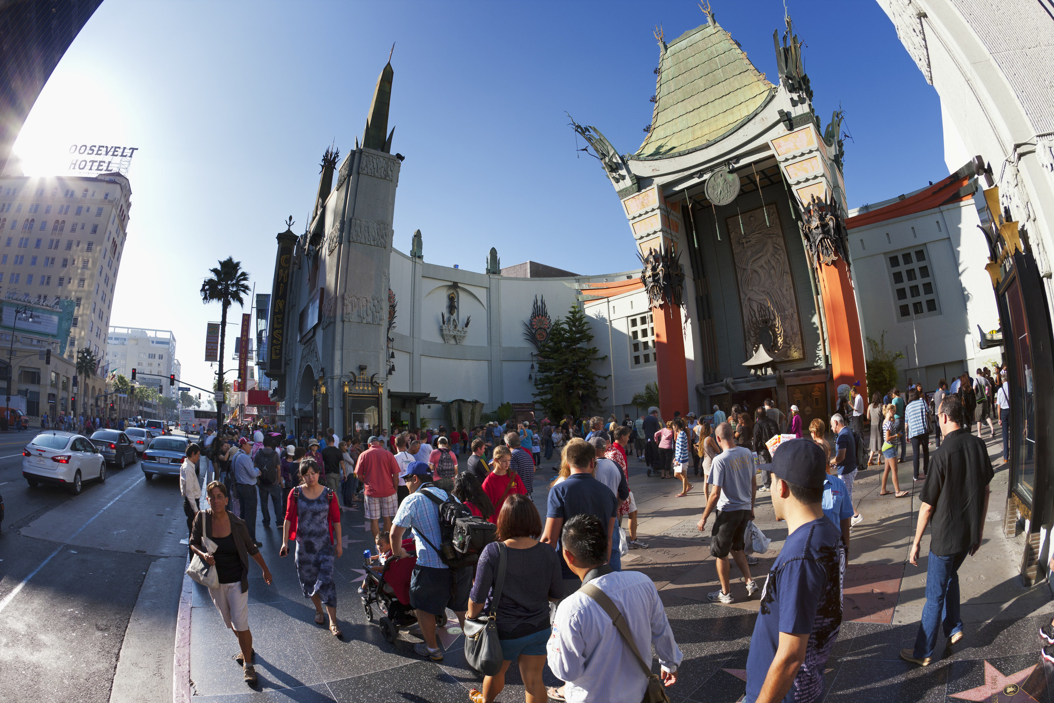 A crowd on Hollywood Boulevard.