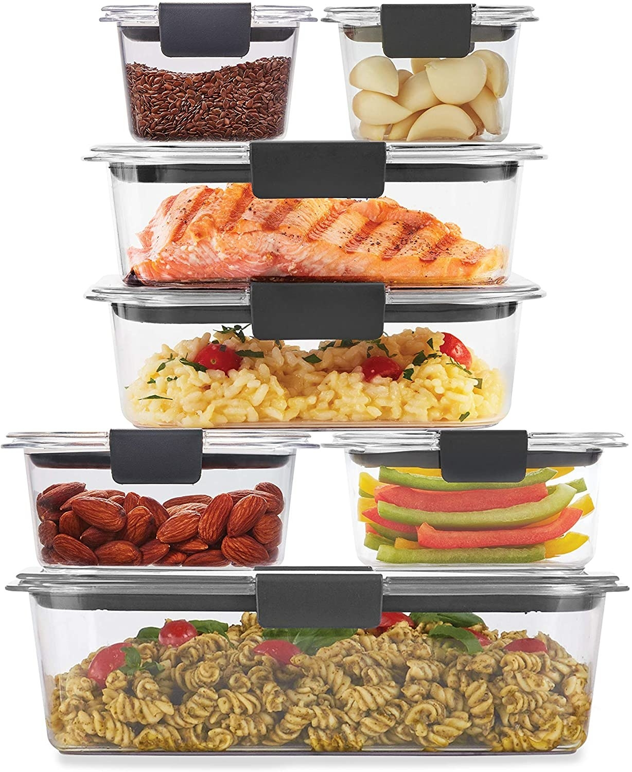 the clear containers stacked on top of each other storing left over foods