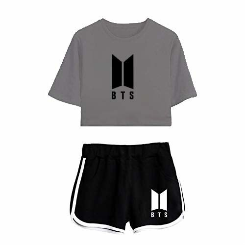 A grey t-shirt and black shorts with the BTS logo on them
