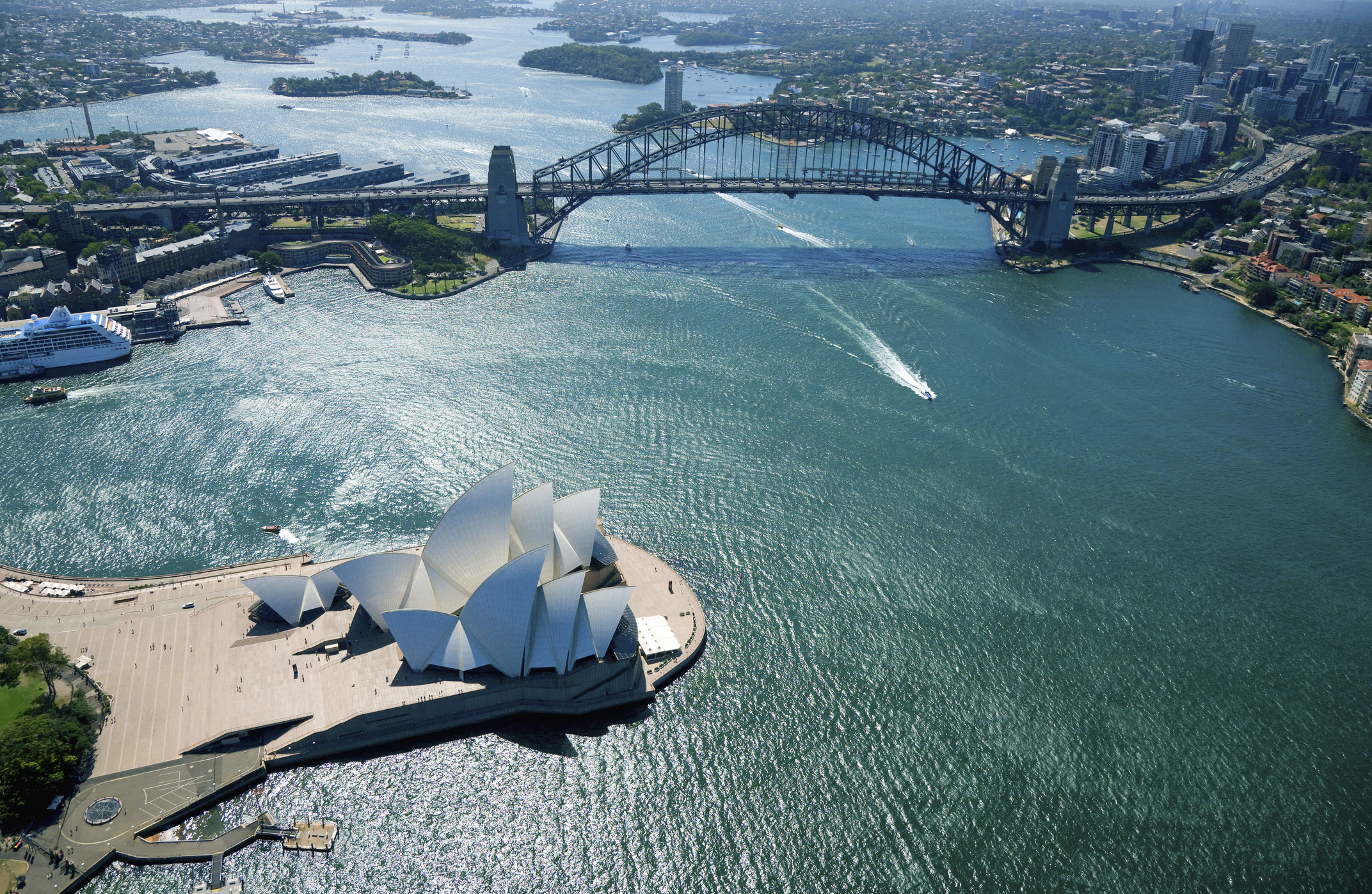An aerial view of the Sydney Opera House.