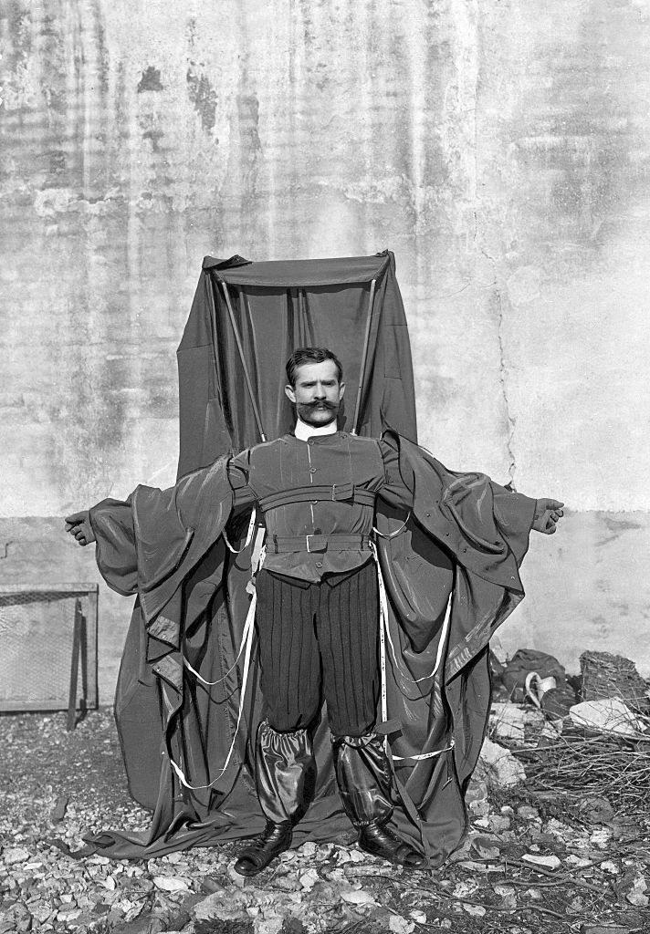 Franz Reichelt wearing his fatal invention