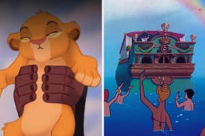 the final frame of the lion king and the final frame of the little mermaid