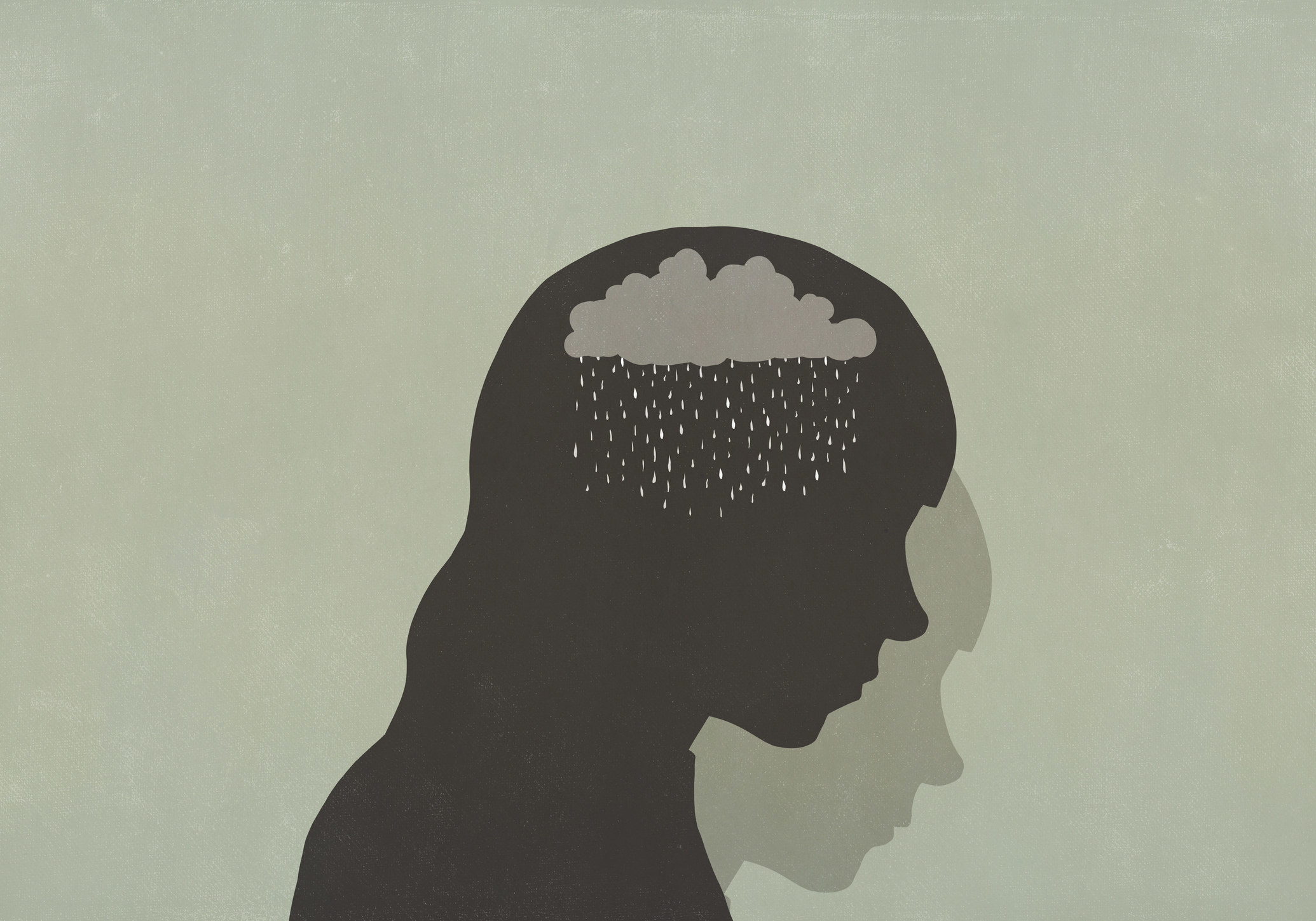 An illustration of a person with a cloud and rain inside of their head