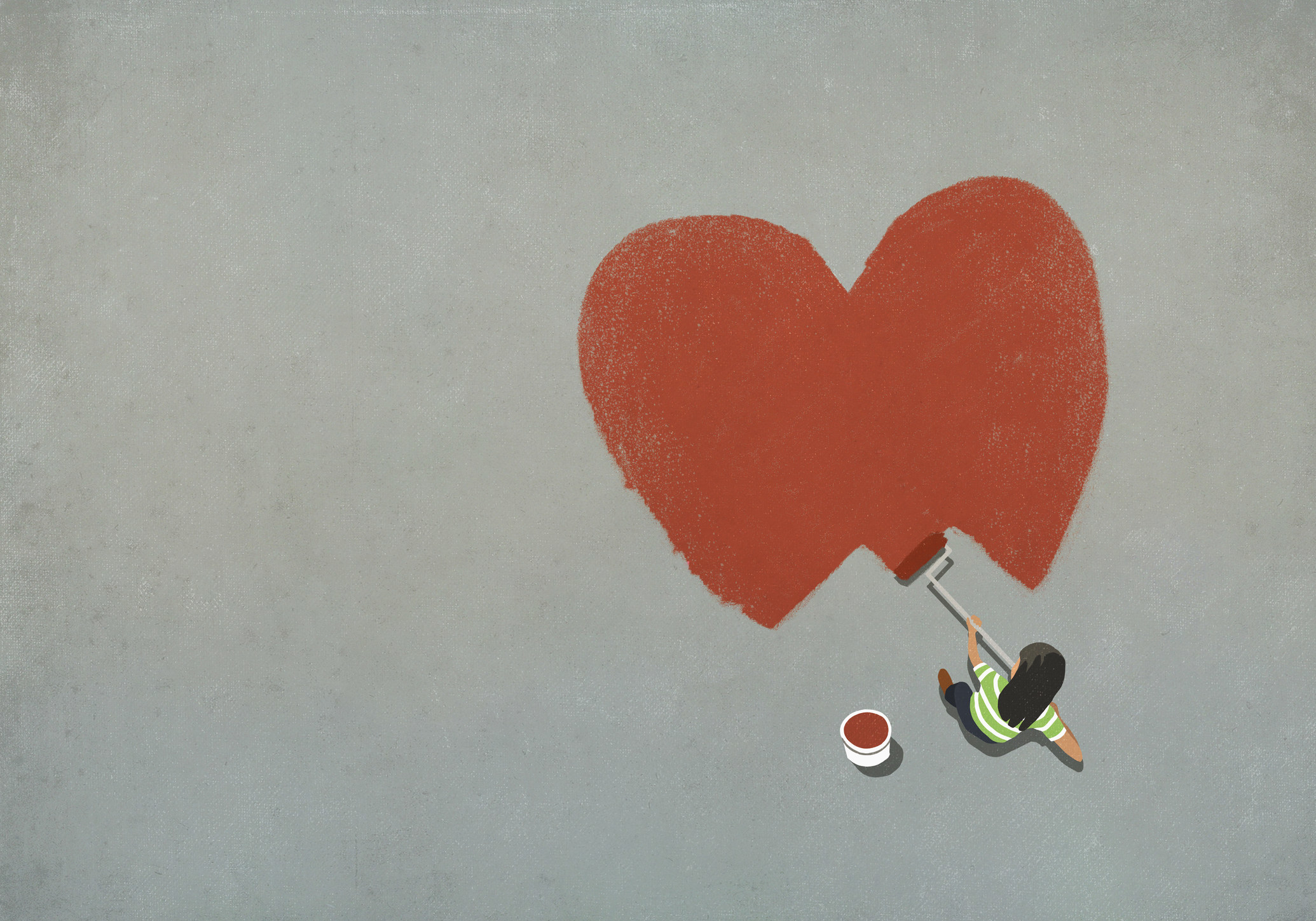An illustration of a person painting a large heart on the ground