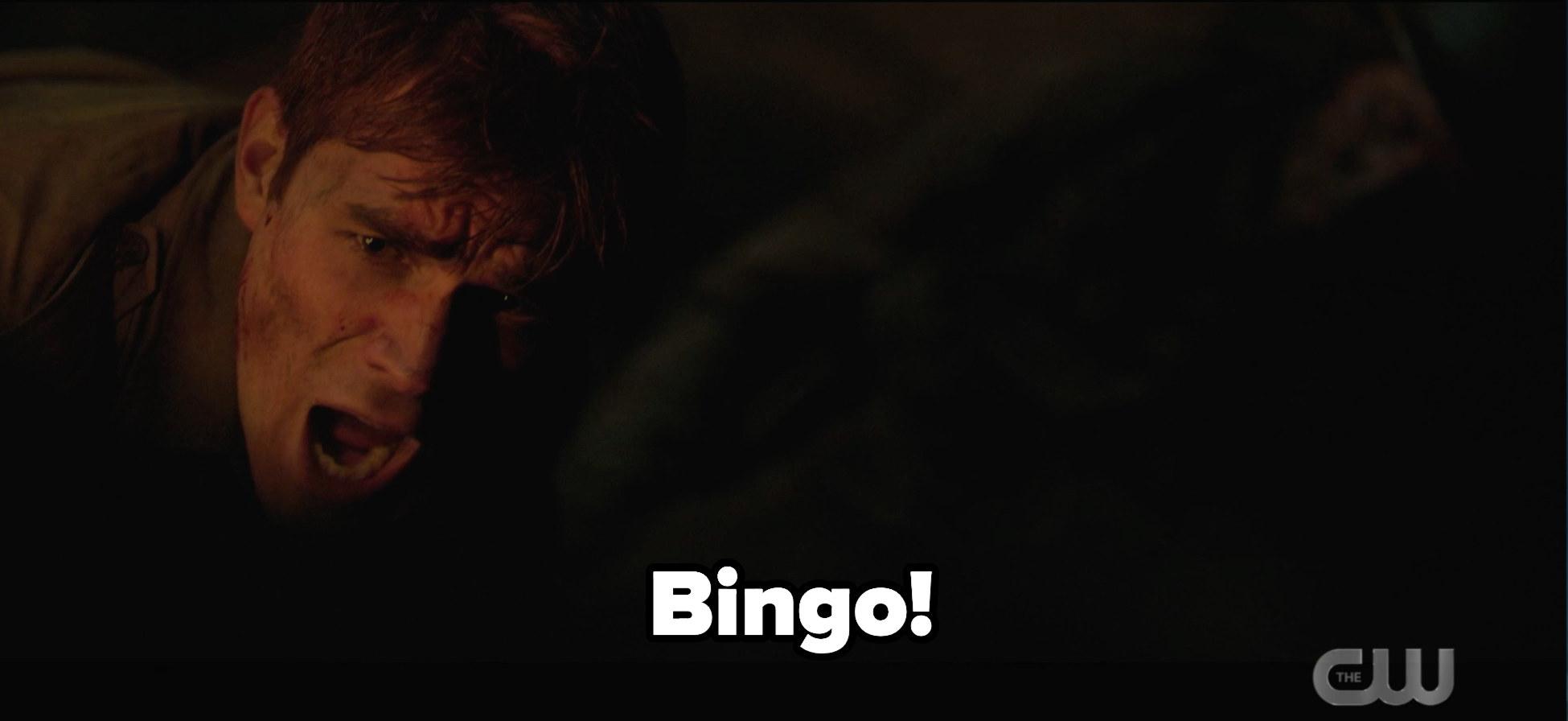 Archie shouting Bingo!
