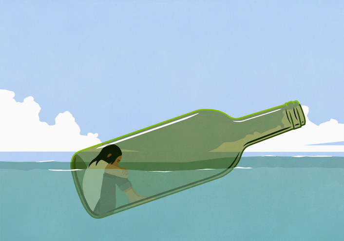 An illustration of a bottle floating in the ocean with a person sitting inside of it
