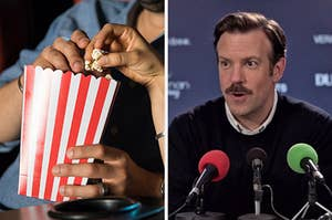 On the left, people grabbing popcorn from a box at the movies, and on the right, Jason Sudekis doing a press conference as Ted Lasso