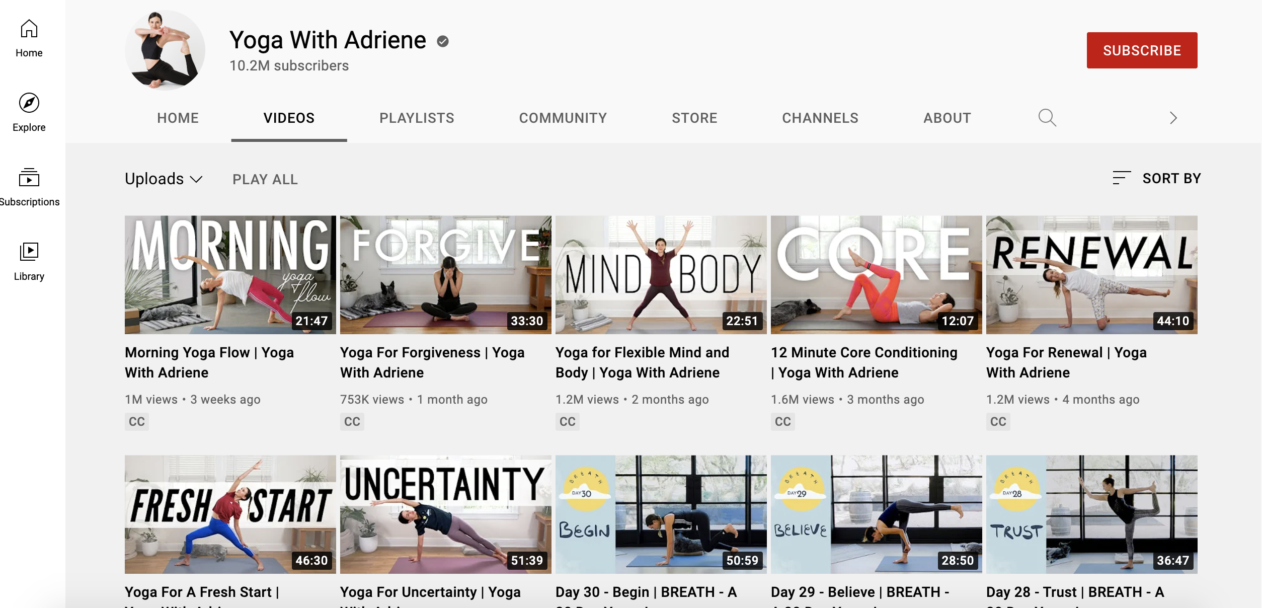 webpage of Yoga with Adriene with 10 different videos showing