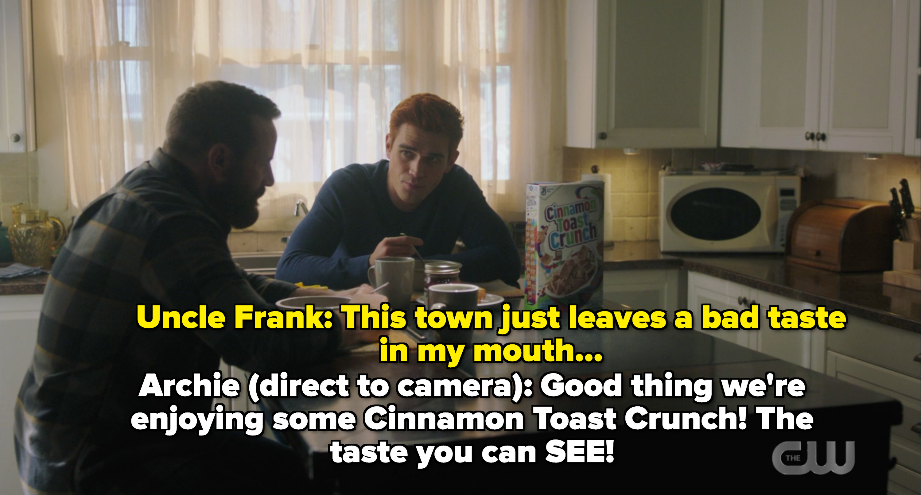 Archie and Frank eating cinnamon toast crunch