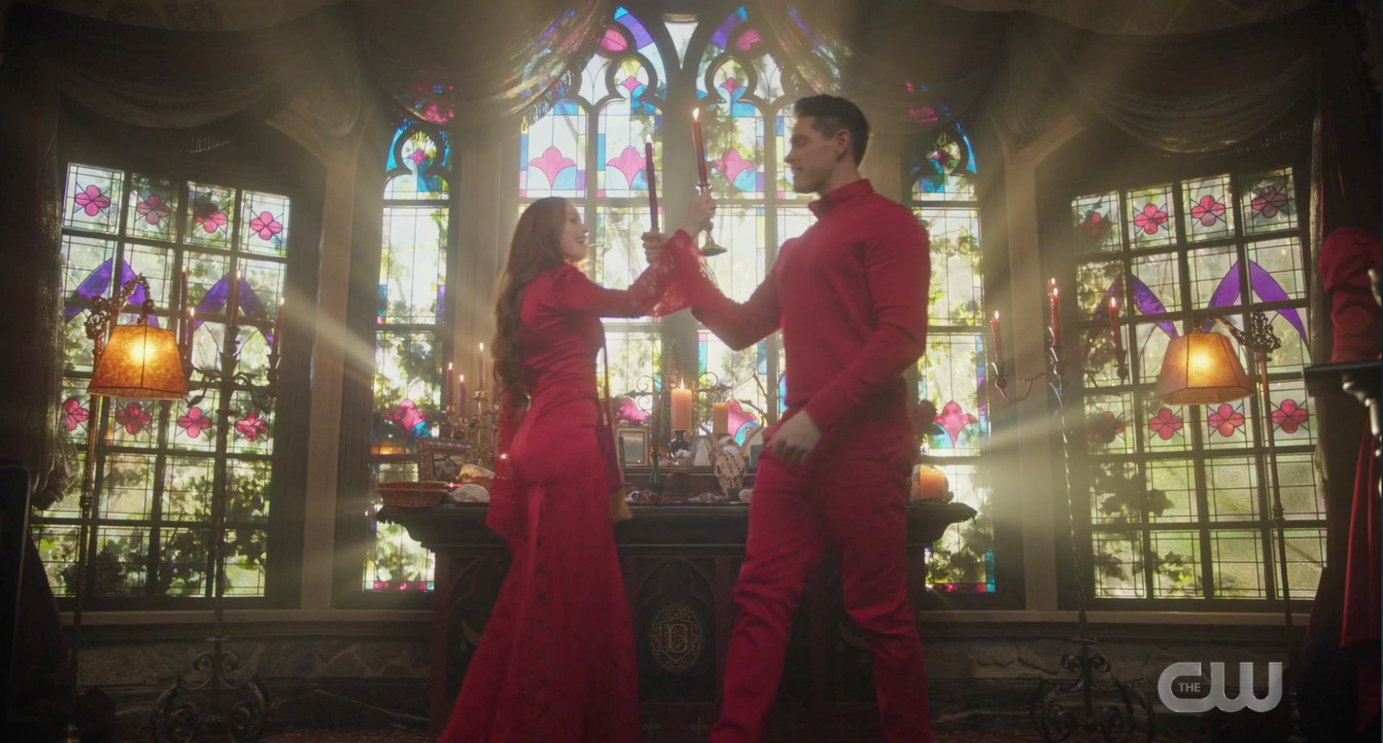 Cheryl and Kevin dancing with candles.