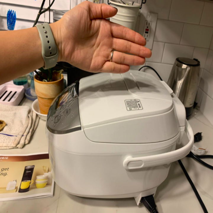 a reviewer showing their hand over the rice machine for size