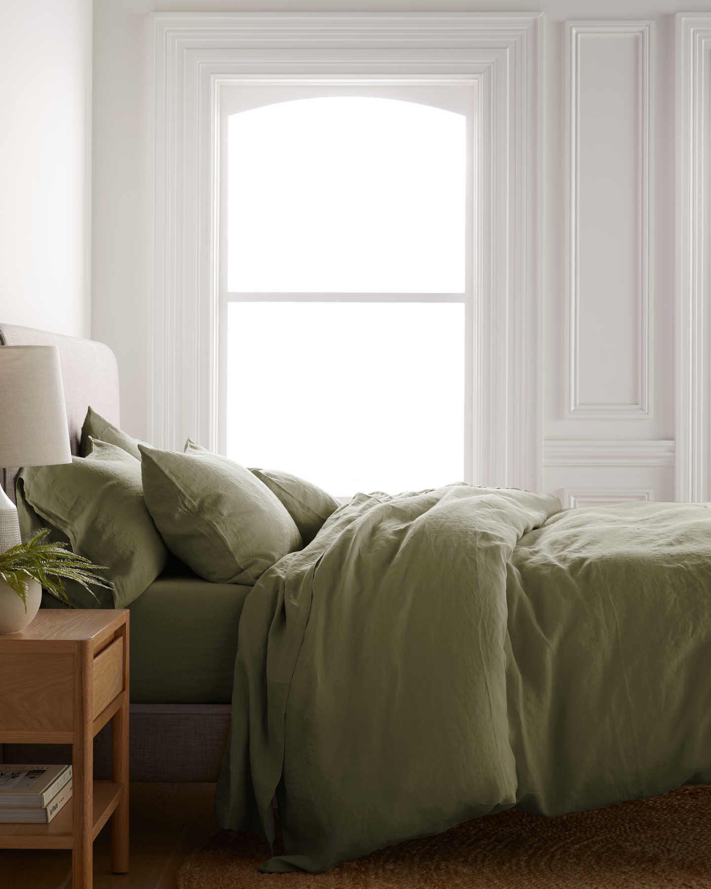 A bed with the duvet set
