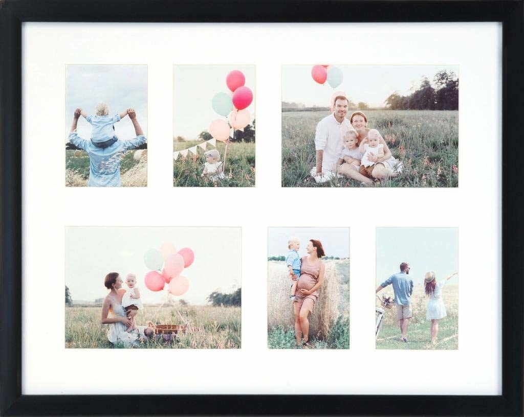 A black photo frame with space for 6 photographs