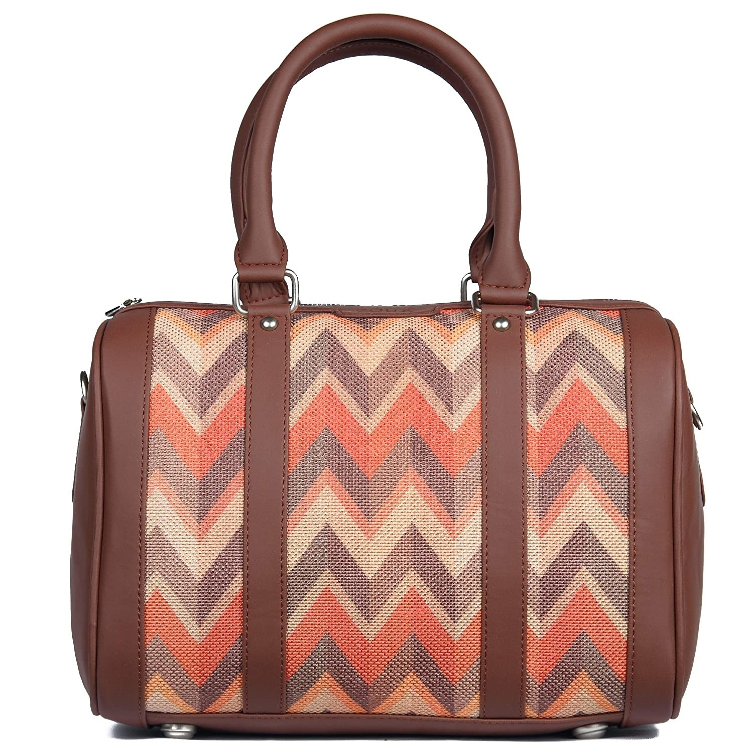 A brown leather bag with a zigzag print in orange, brown, and beige