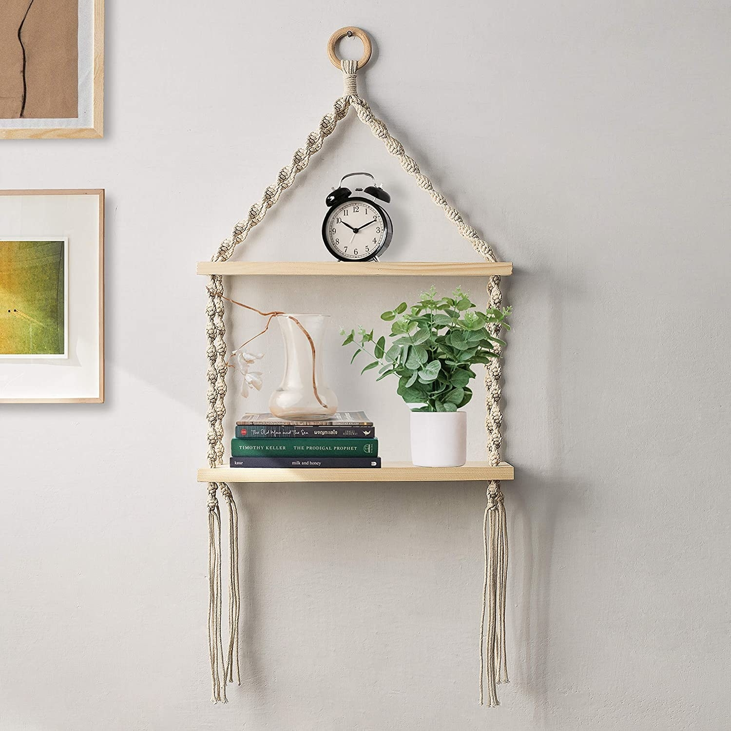 A white macrame hanging shelf with two tiers. It houses books and potted plants.