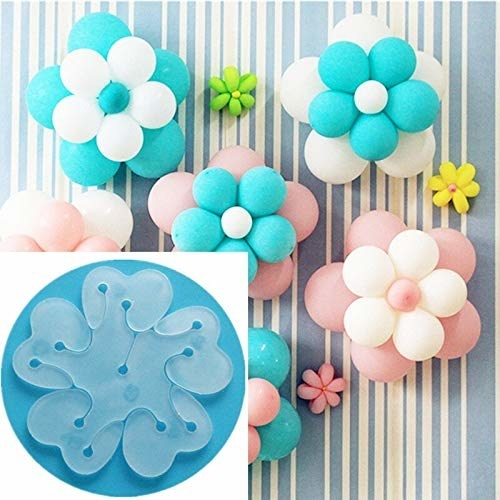 A plastic flower clip and balloon flower decorations
