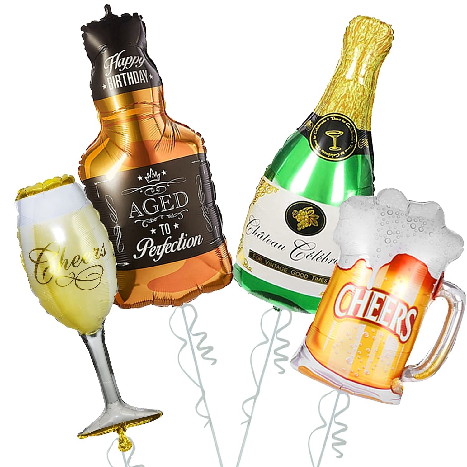 4 inflated balloons in the shape of a champagne bottle, wine glass, whiskey bottle and beer mug