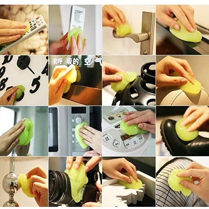 A collage showing that the cleaning jelly can be used to clean clocks, fans, cameras, appliances, surfaces, etc