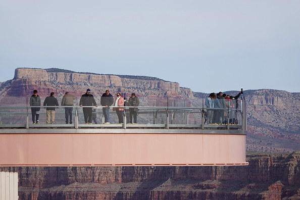 high balcony overlooking the Grand Canyon