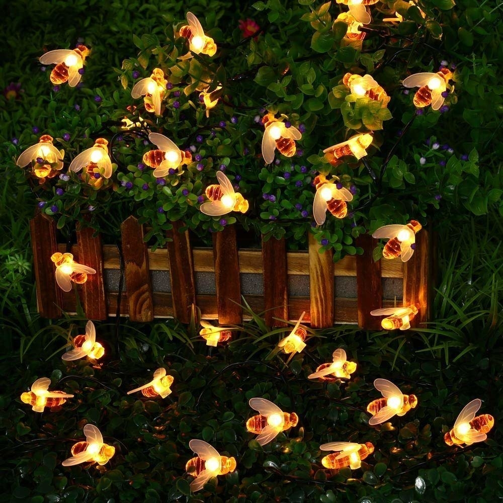 Honey bee shaped firelights lighting up the dark bushes and fence outside at night