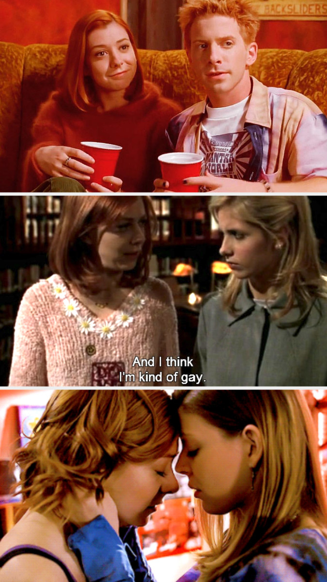 """Willow and Oz drinking at a party; Willow telling Buffy """"And I think I'm kind of gay;"""" Willow and Tara embracing"""