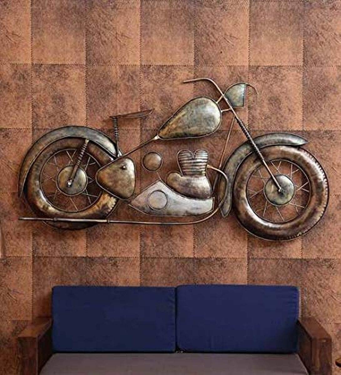 A metal bike wall hanging