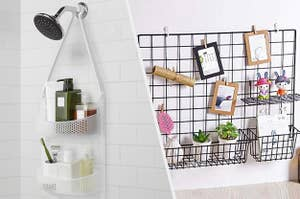a 2-shelf shower caddy hung around a shower head with bath products in it, a black steel grid with photos and stationery attached to it
