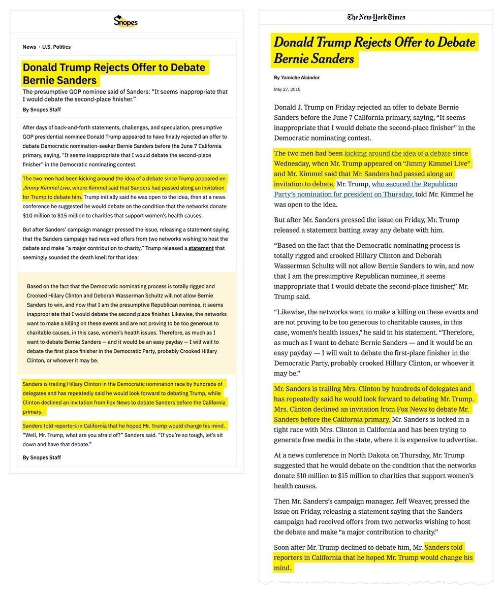 A side-by-side comparison of a Snopes story and one from The New York Times.