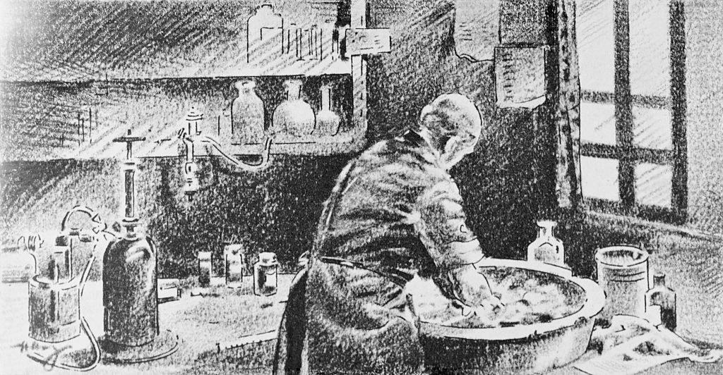 Semmelweis washing his hands before a procedure