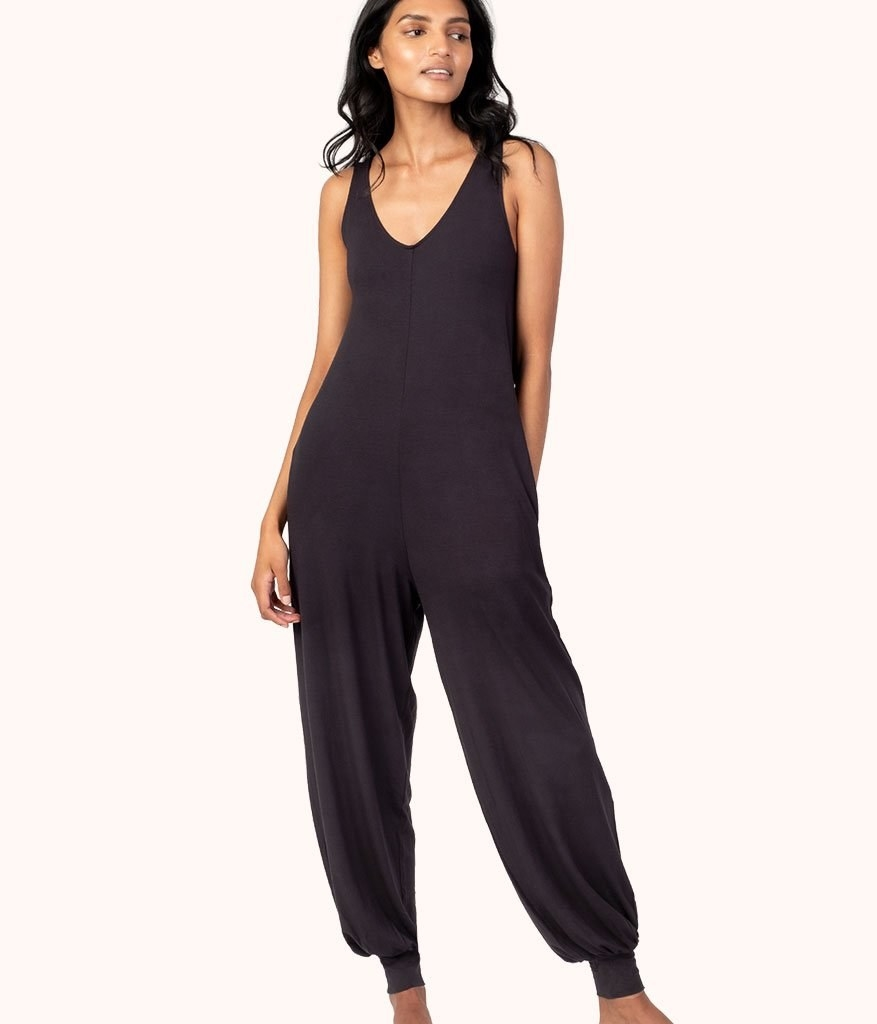 A person wearing the jumpsuit
