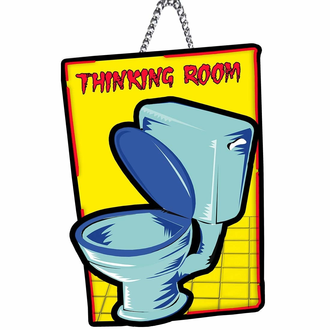 A pop art inspired bathroom poster with a toilet on it and text that read Thinking Room