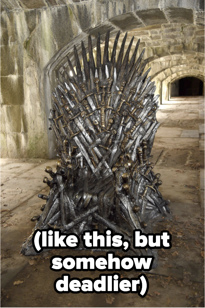 the iron throne with caption (like this, but somehow deadlier)