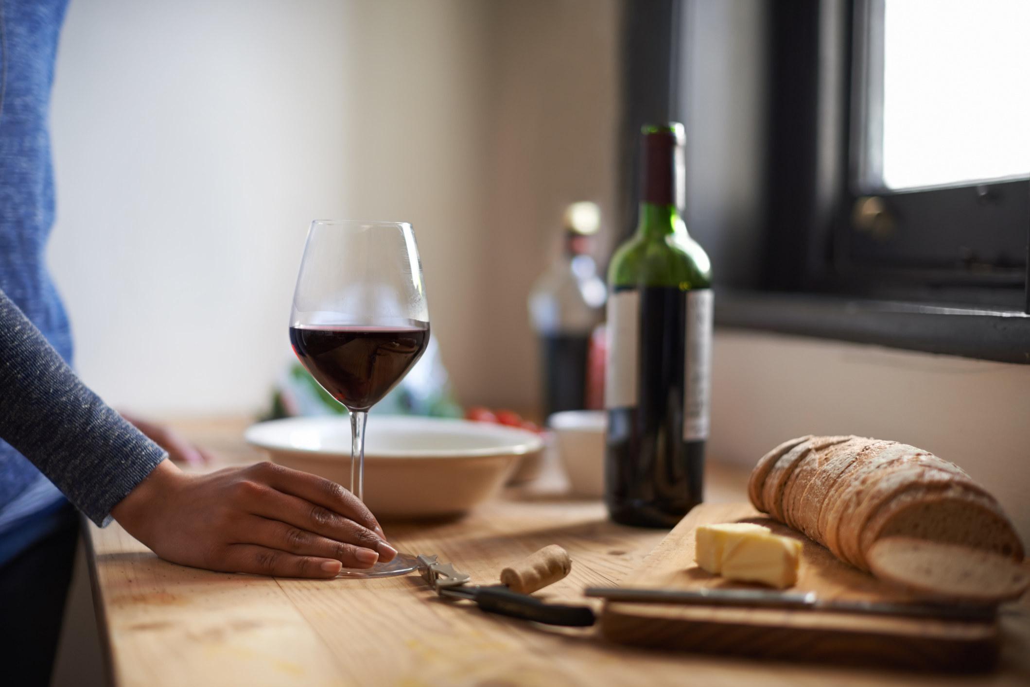 glass on wine