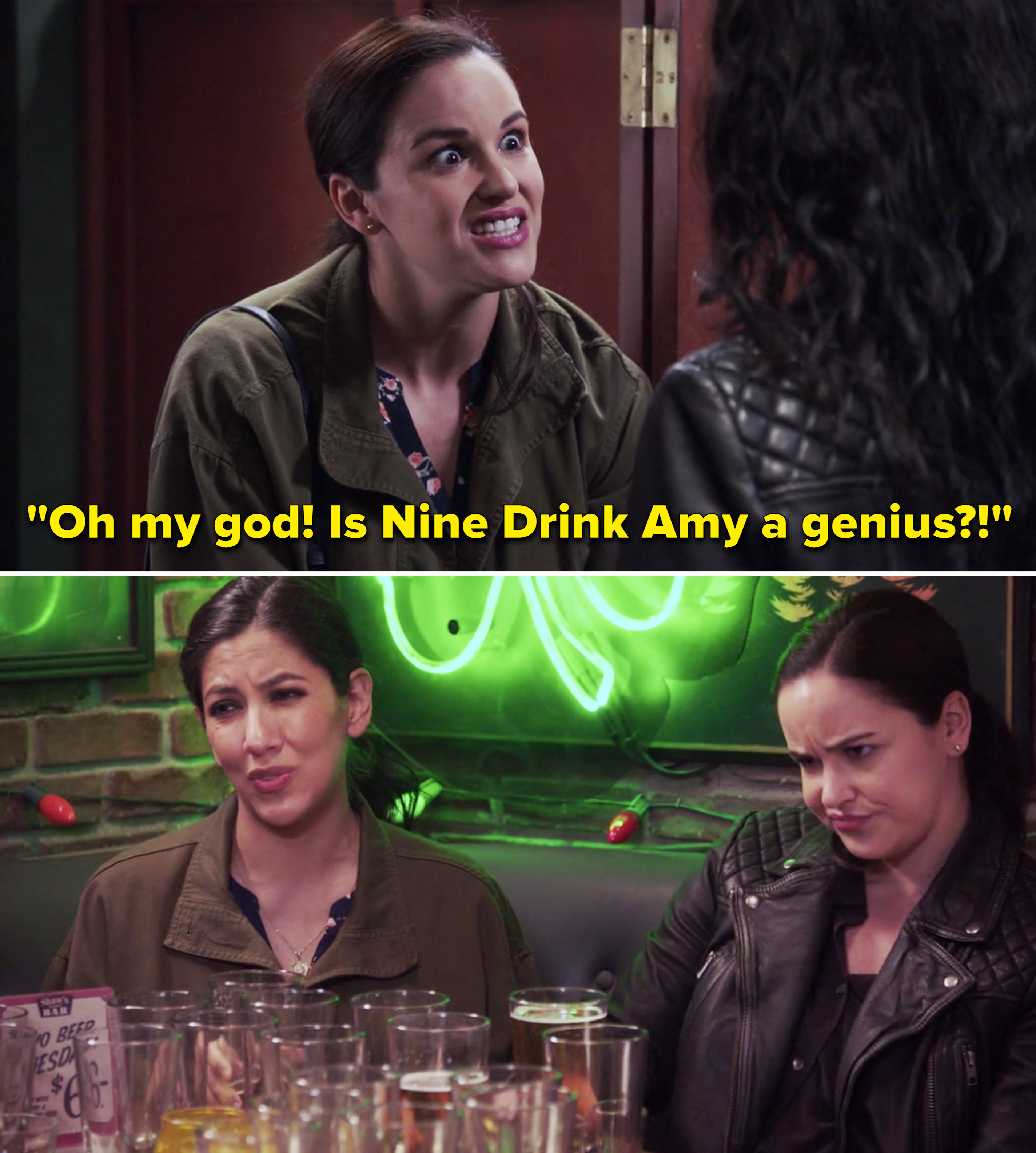 """Amy saying, """"Oh my god! Is Nine Drink Amy a genius?"""""""