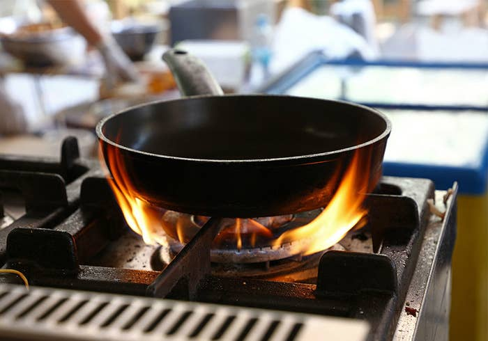 A pan on a very hot stove.